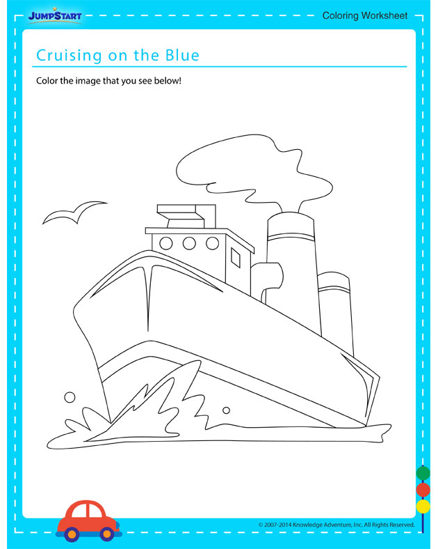 Cruising on the Blue - Free coloring page for kids on vehicles