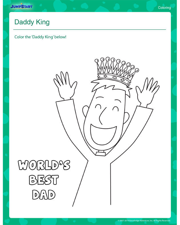 Daddy King – Father's Day Printable Coloring Worksheet