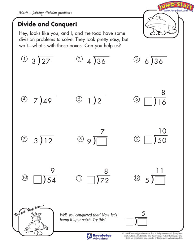 Divide and Conquer View - 4th Grade Math Worksheets ...