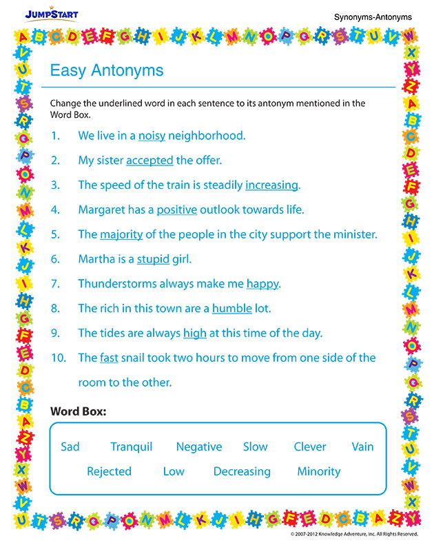 Easy Antonyms – Easy Vocabulary Worksheet for 3rd Grade