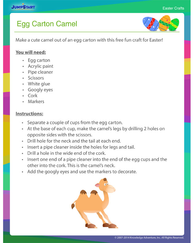 Download and print 'Egg Carton Camel' - Fun Kids' Craft for Easter