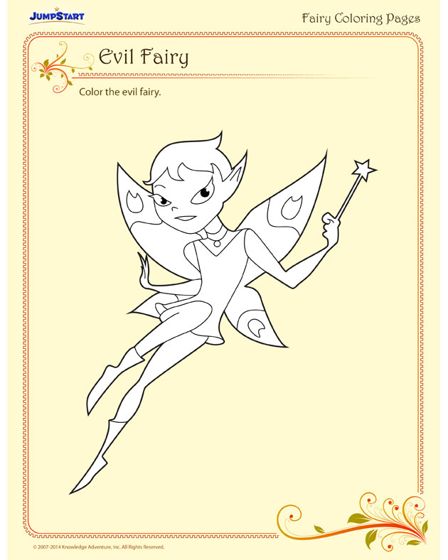 Evil Fairy - Scary evil fairy coloring page