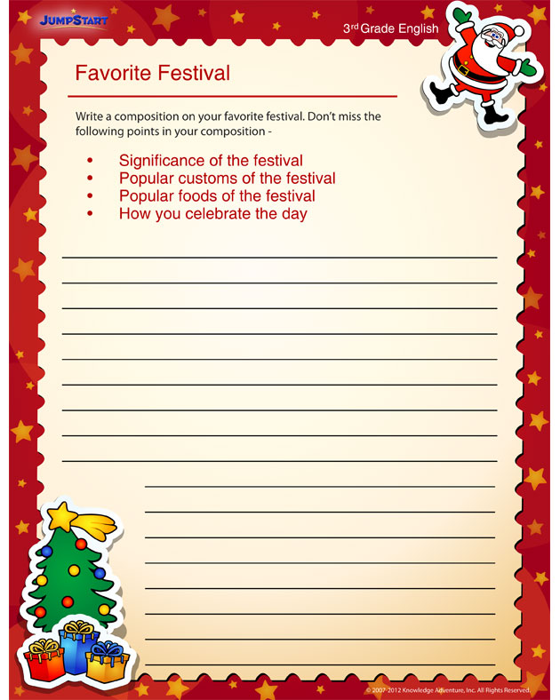 Favorite Festival - Free worksheet for 3rd grade