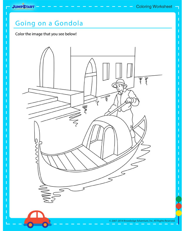 Going on a Gondola - Free coloring page for kids on vehicles