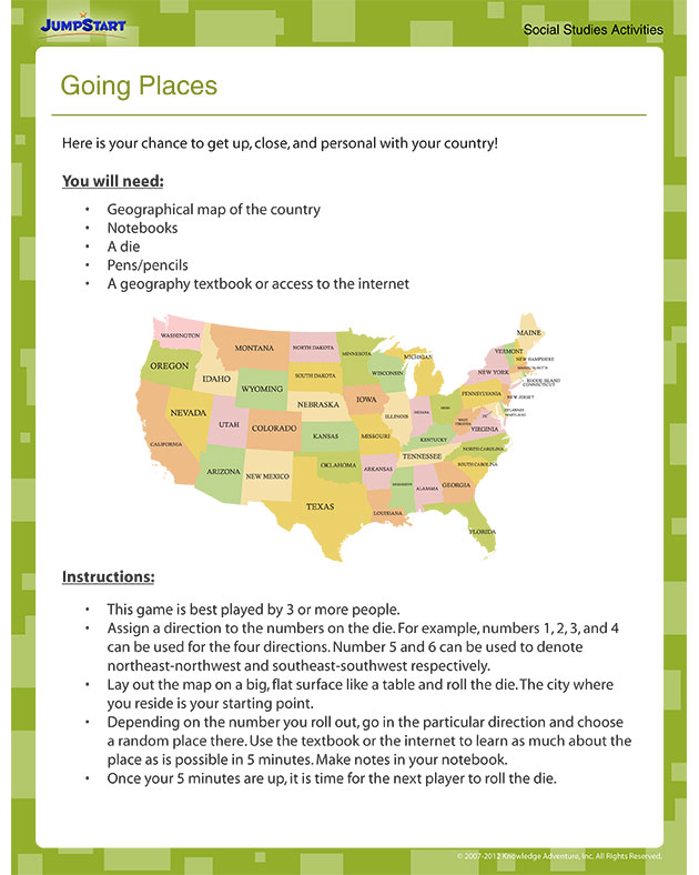 Going Places - Free Geography Worksheet for 4th Grade