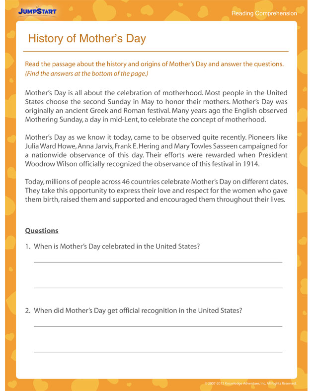 History of Mother's Day – Free 4th Grade Reading Worksheet
