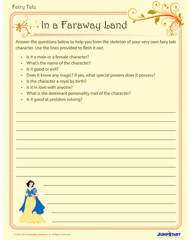 In a Faraway Land - Fun Writing Worksheet for 4th Grade