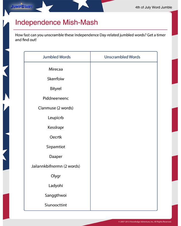 Independence Mish-Mash – Printable 4th of July Activity for Kids