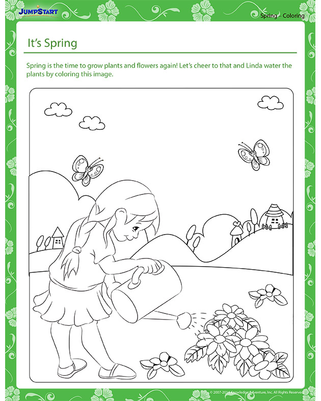 It's Spring! - Spring themed coloring page