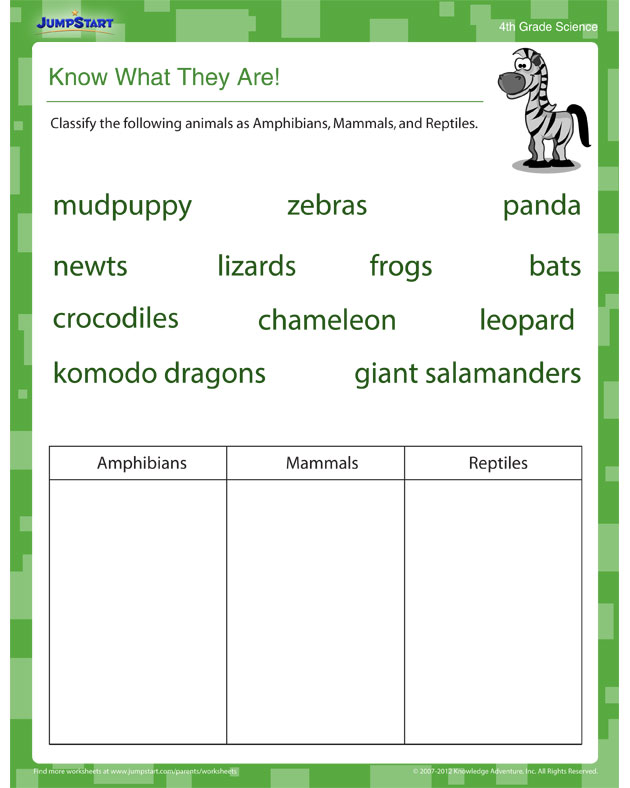 Know What They Are! - Free Science Worksheet