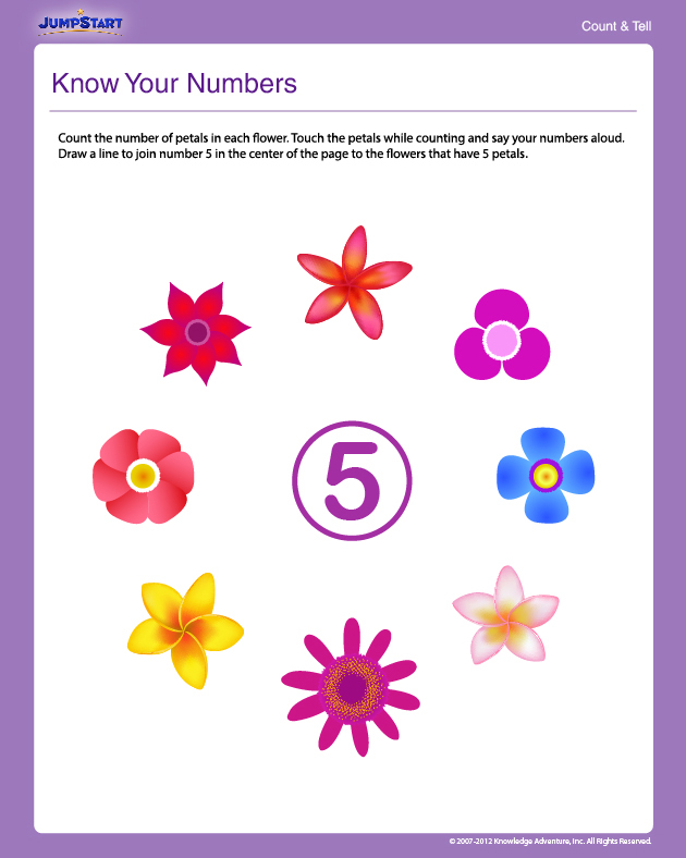 Know Your Numbers - Free Math Worksheet for Preschool