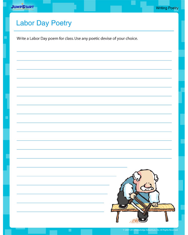 Labor Day Poetry - Free Poetry Worksheet for Fifth Grade