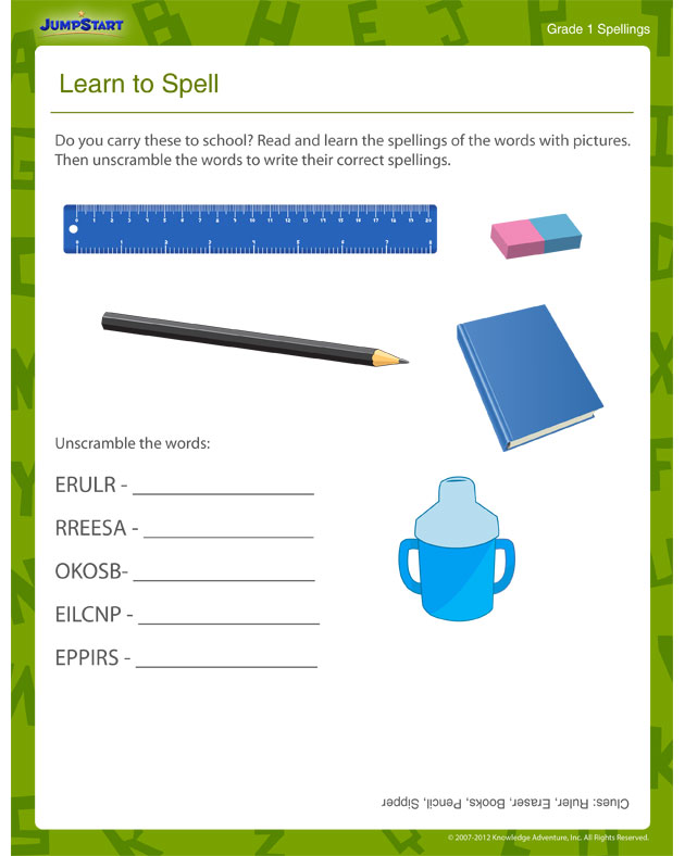 Learn to Spell - Spelling worksheets