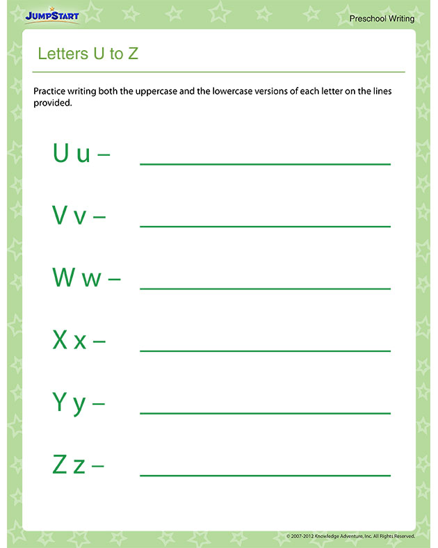 Letters U to Z – Free Tracing Letters Worksheet for Preschool