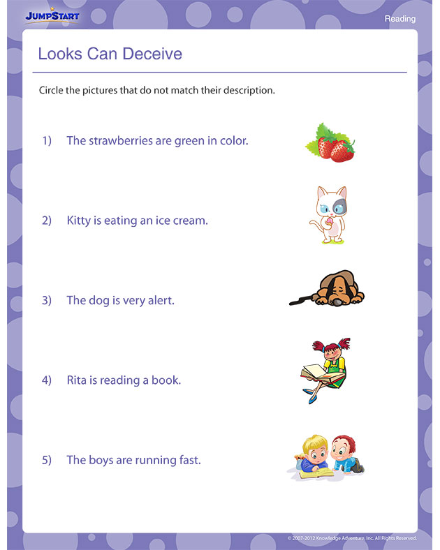 Looks Can Deceive - Free 1st Grade Reading Worksheet