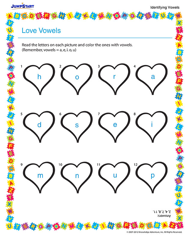 Love Vowels – Free English Worksheet for Kindergarten