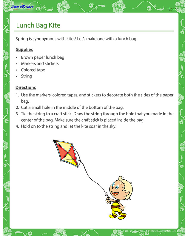 Lunch Bag Kite - Spring themed crafts