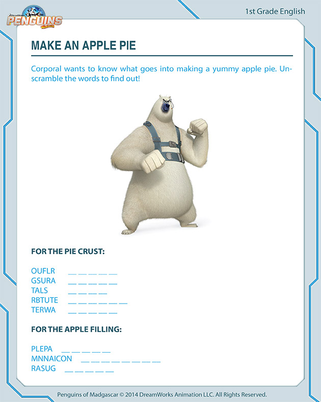 Make an Apple Pie - Free worksheet for first graders