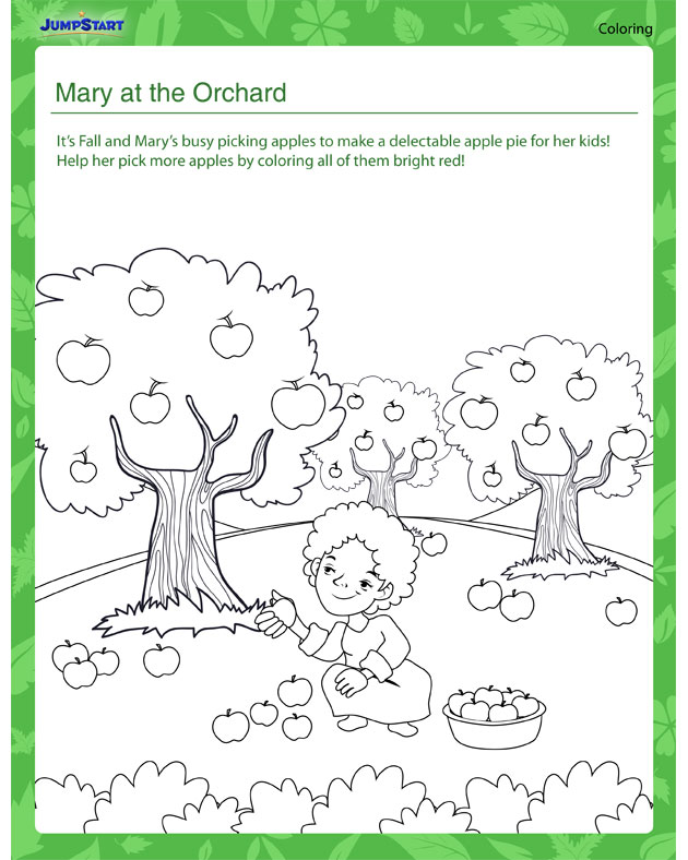 Mary at the Orchard - Plant coloring worksheets