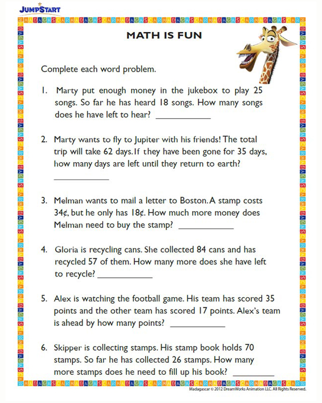 Math is Fun - Free Fun Math Worksheet for 2nd Grade ...