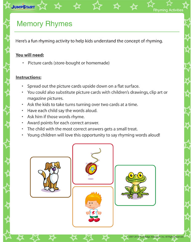 Memory Rhymes - Rhyming Activity and Printable