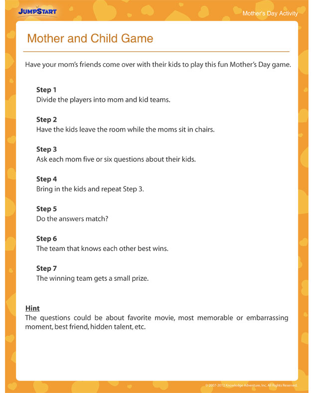 Mother and Child Game – Free Mother's Day Activities