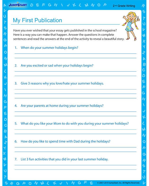 My First Publication - Free worksheet for 2nd grade