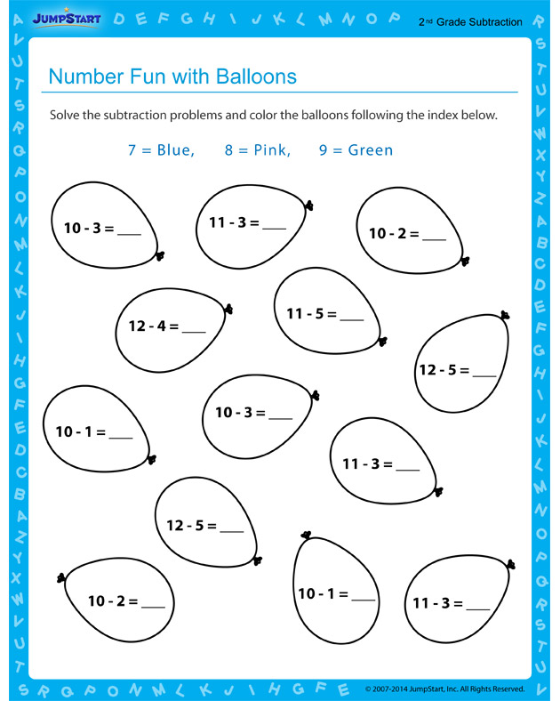 Number Fun with Balloons - Free worksheet for 2nd grade