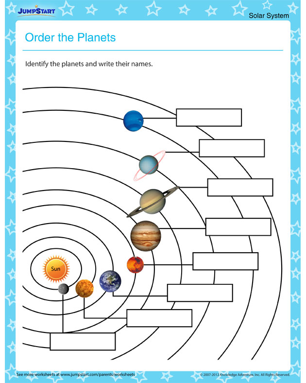 Order the Planets - Planet Worksheet Primary Grade - JumpStart