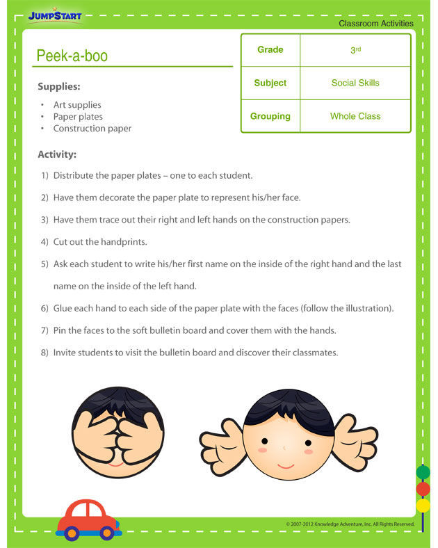 Peek-a-Boo - Free classroom activity with kids on social skills