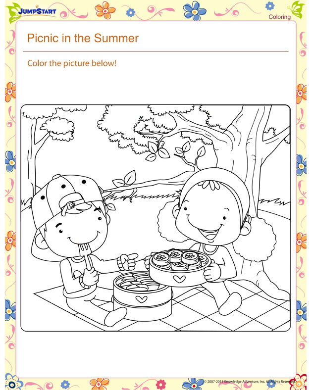 Picnic in the Summer! – Printable coloring page