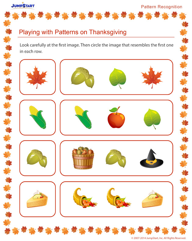 Playing with Patterns on Thanksgiving - Free holiday worksheets for kids