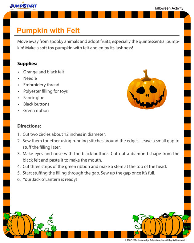 Pumpkin with Felt - Downloadable Halloween Activity for Kids