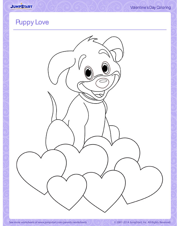 Puppy Love | Free Valentine's Day Coloring Pages | JumpStart