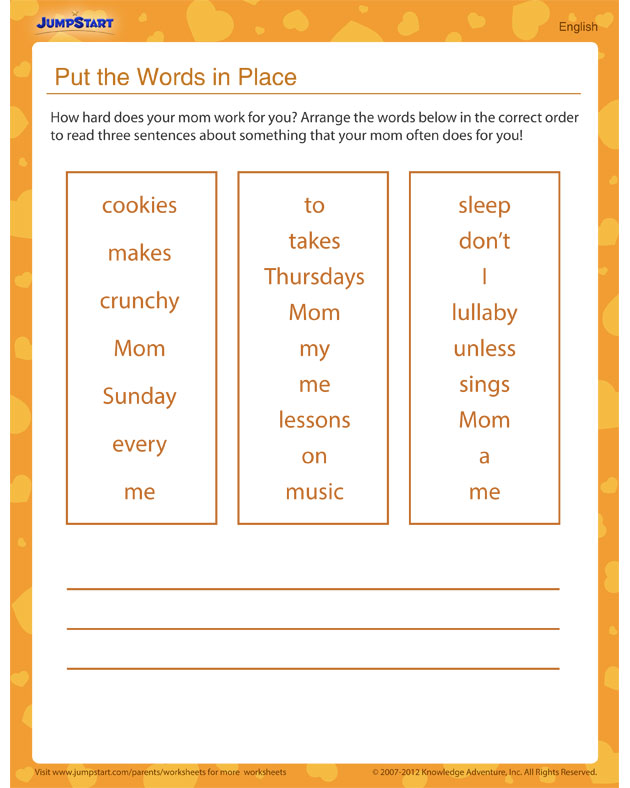 Put the Words in Place – Free printable worksheet for kids