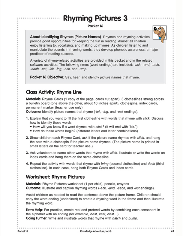 Rhyming Pictures 3 - Free, Printable English Activity & Lesson Plan