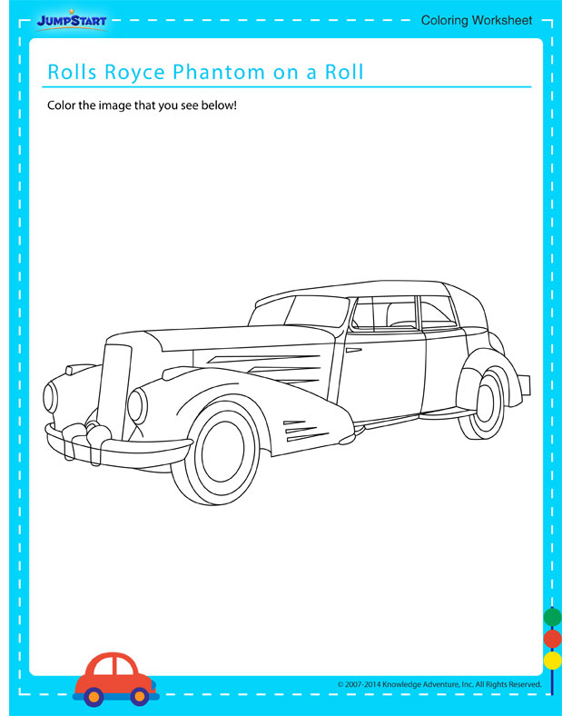Rolls Royce Phantom on a Roll - Free coloring page for kids on vehicles