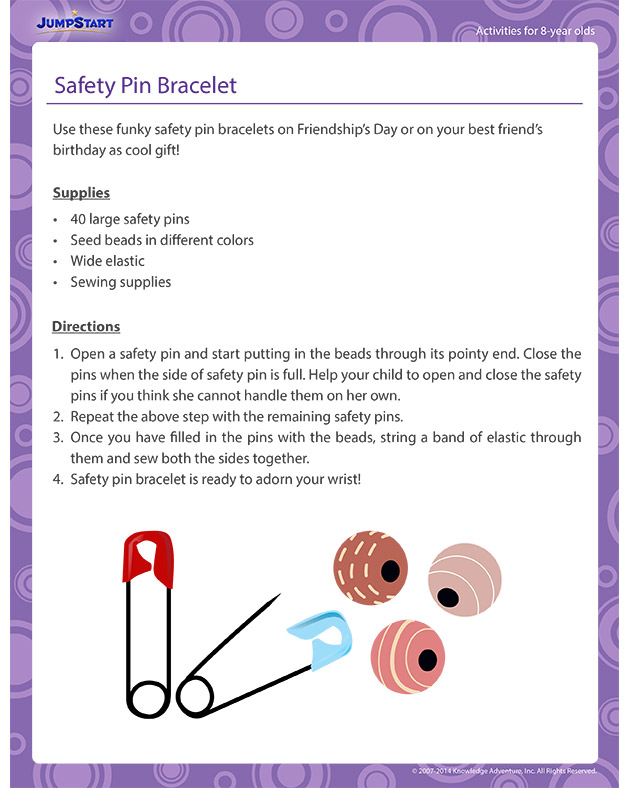 Safety Pin Bracelet - Activities for 8-year olds