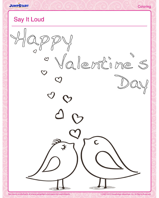 Download 'Say it Loud' - Valentine's Day Coloring Page for Kids