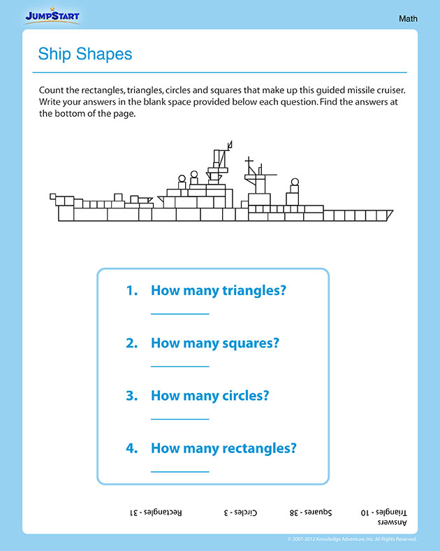 Shapes in the Cruiser – Printable Math Worksheet for 1st Graders
