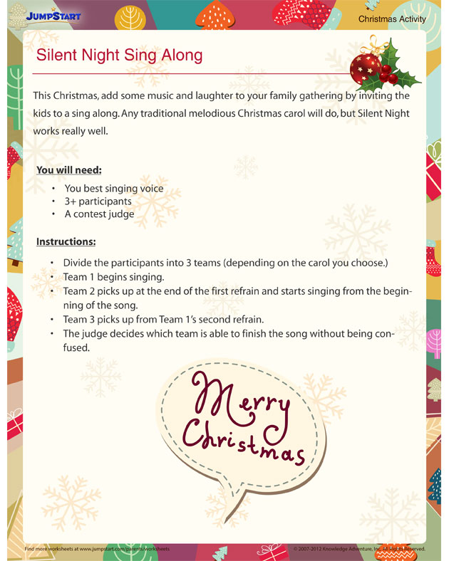 Silent Night Sing Along - Free Christmas Activities for Kids