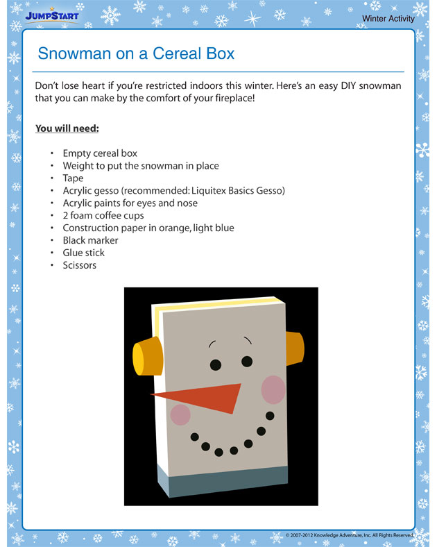 Snowman on a Cereal Box - Winter Activity