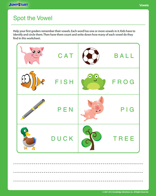 Spot the Vowel - Free 1st Grade English Worksheet