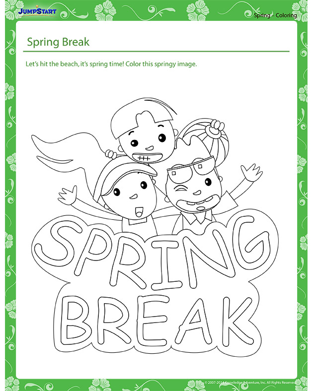 Spring Break - Spring themed coloring page