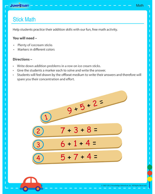 Stick Math! - Activities for 3rd grade kids