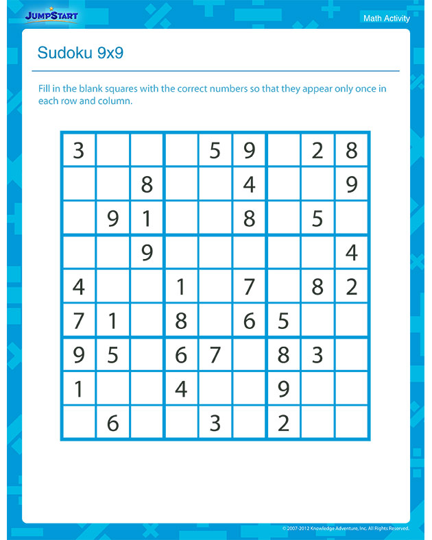 Sudoku 9x9 – Free Printable Math Activity for 3rd Grade