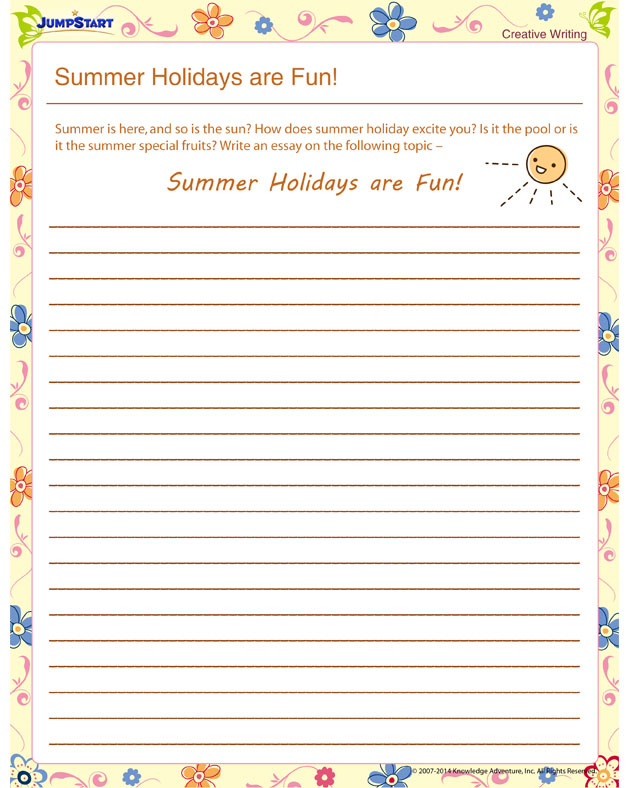 Summer Holidays are Fun! - Free worksheet for summer