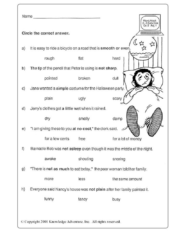 1st Grade 1st grade science worksheets free : Test Your Word Power – 3.1 – Free Vocabulary Activity for Third ...