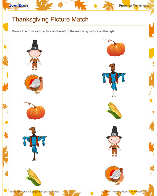Thanksgiving Picture Match View - Free, Fun Preschool ...
