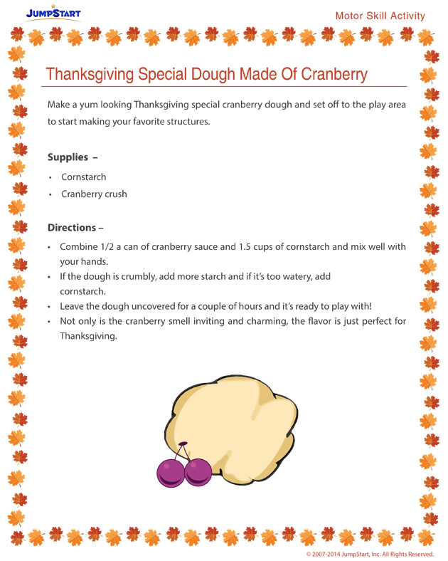 Thanksgiving Special Dough Made of Cranberry - Free holiday activities for kids